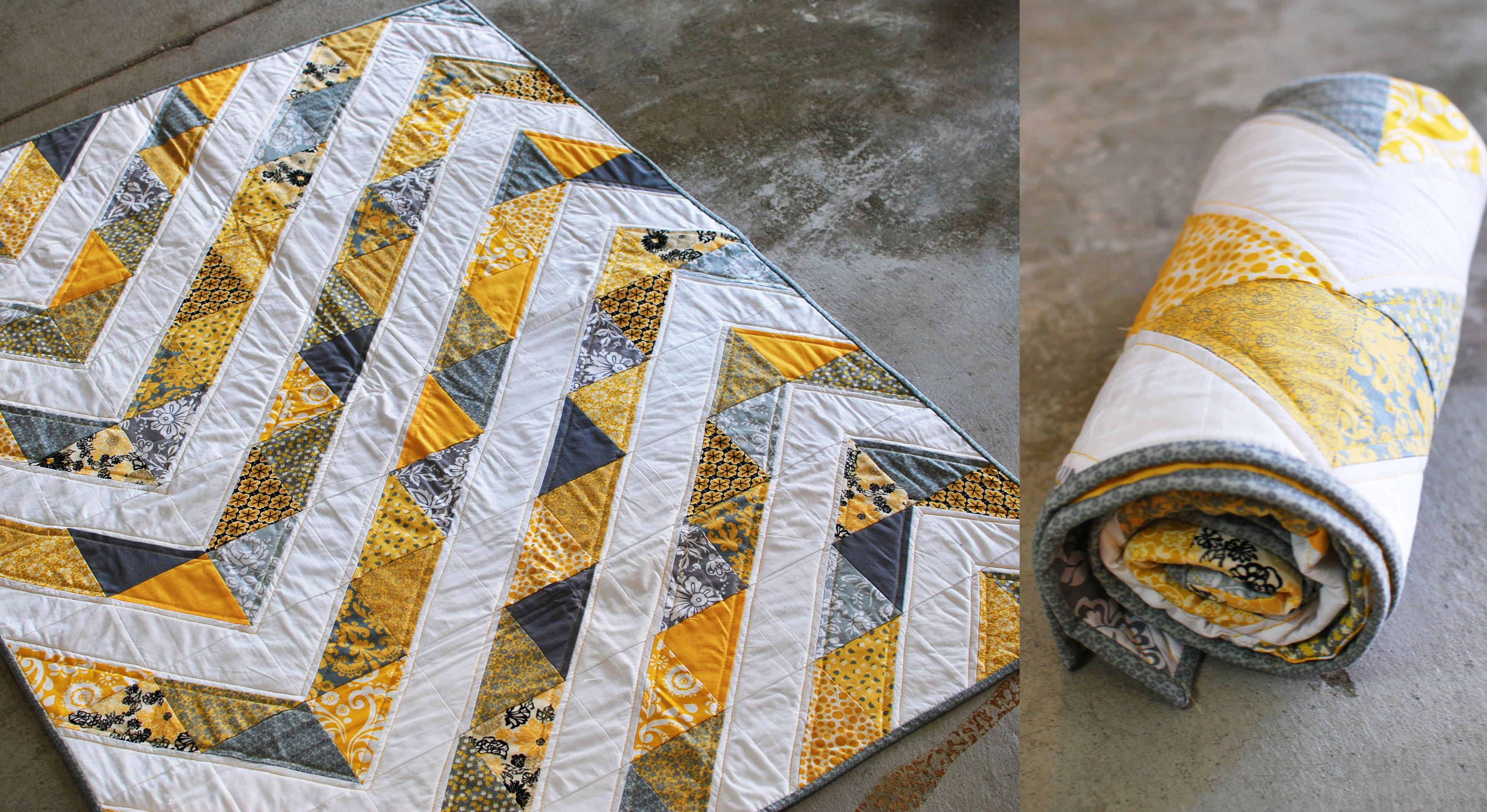 Yellow & Gray Chevron - Dusty & Marlina : yellow and gray quilt - Adamdwight.com